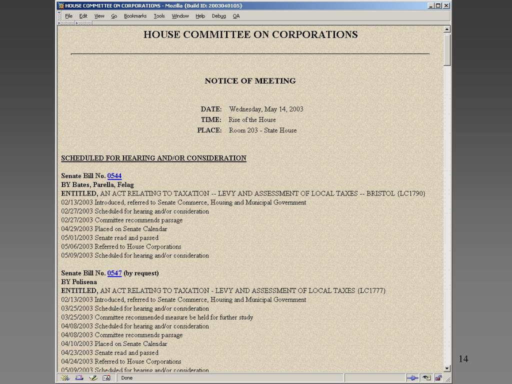 OSS Web-DB on Legislative Meetings and Bills