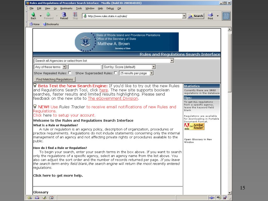 RI Online rules and regulations w/email notification services
