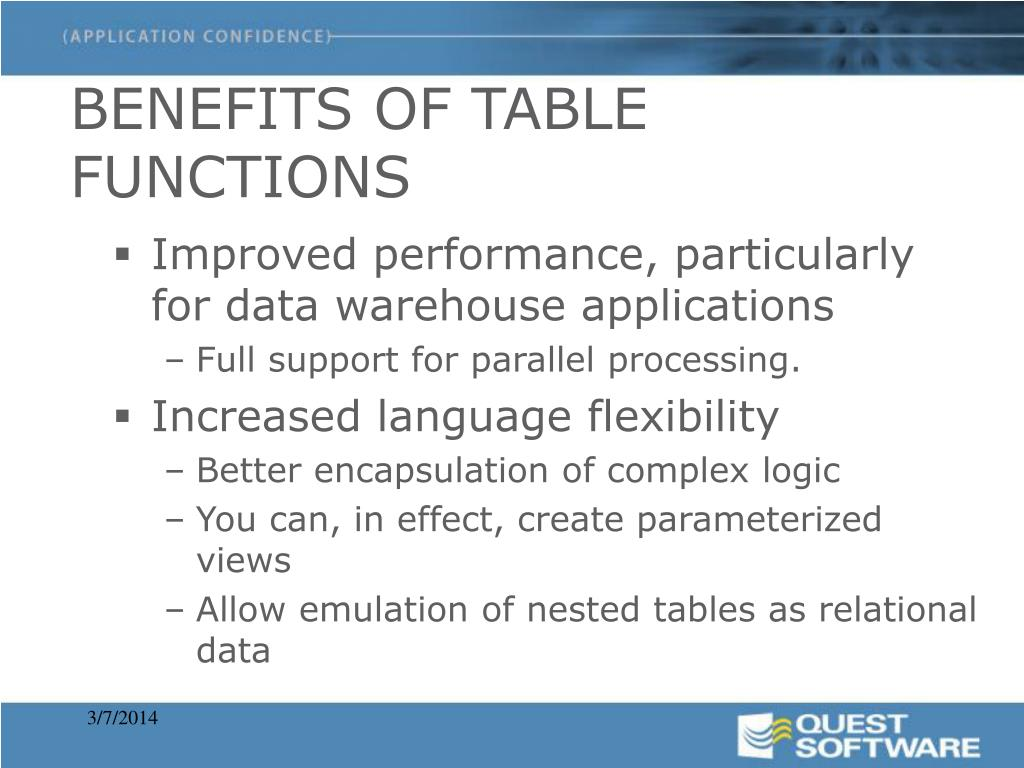 BENEFITS OF TABLE FUNCTIONS