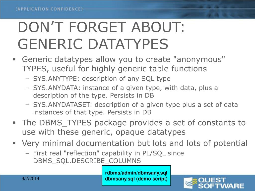 DON'T FORGET ABOUT: GENERIC DATATYPES