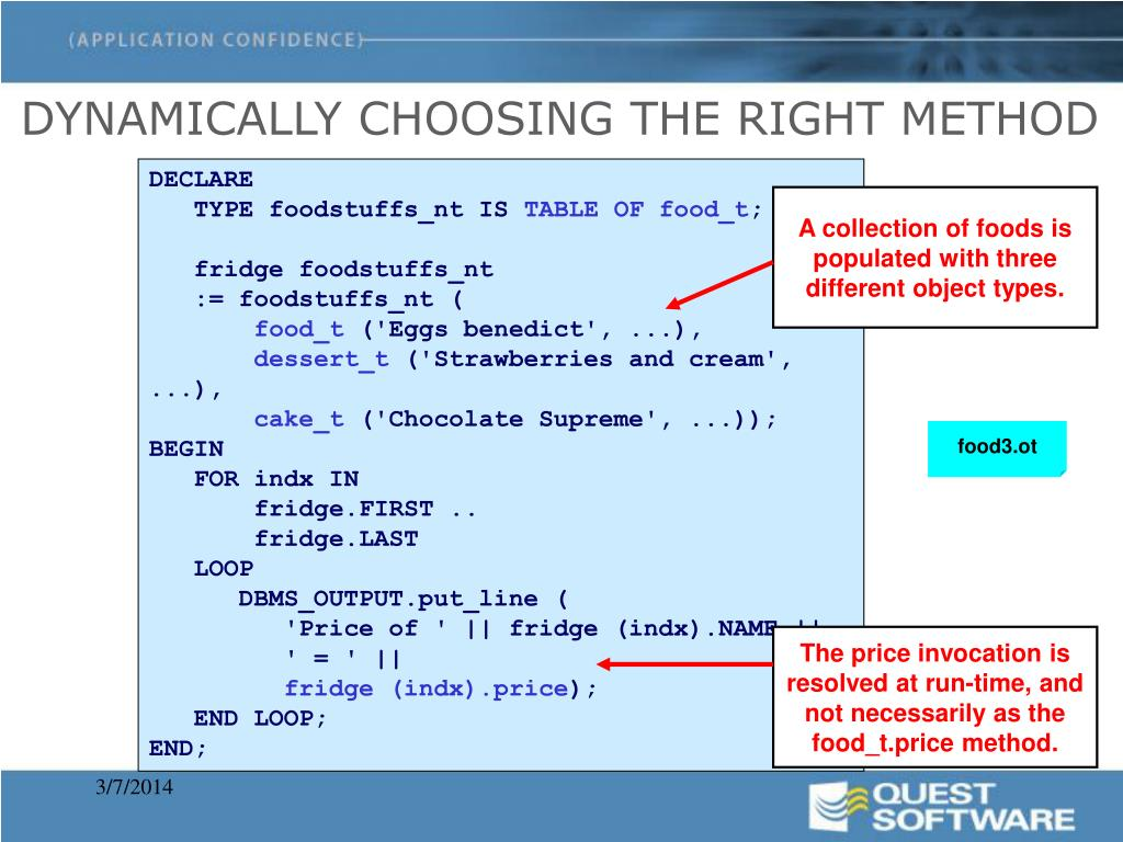 DYNAMICALLY CHOOSING THE RIGHT METHOD