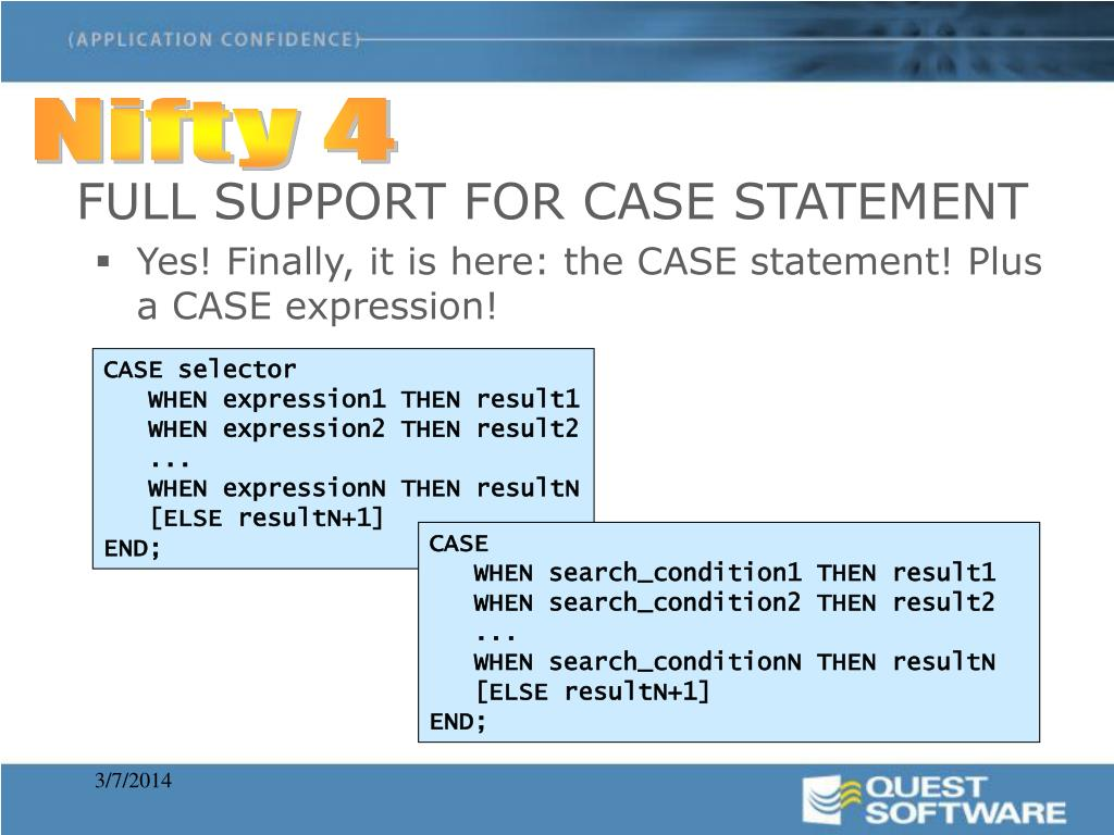 FULL SUPPORT FOR CASE STATEMENT