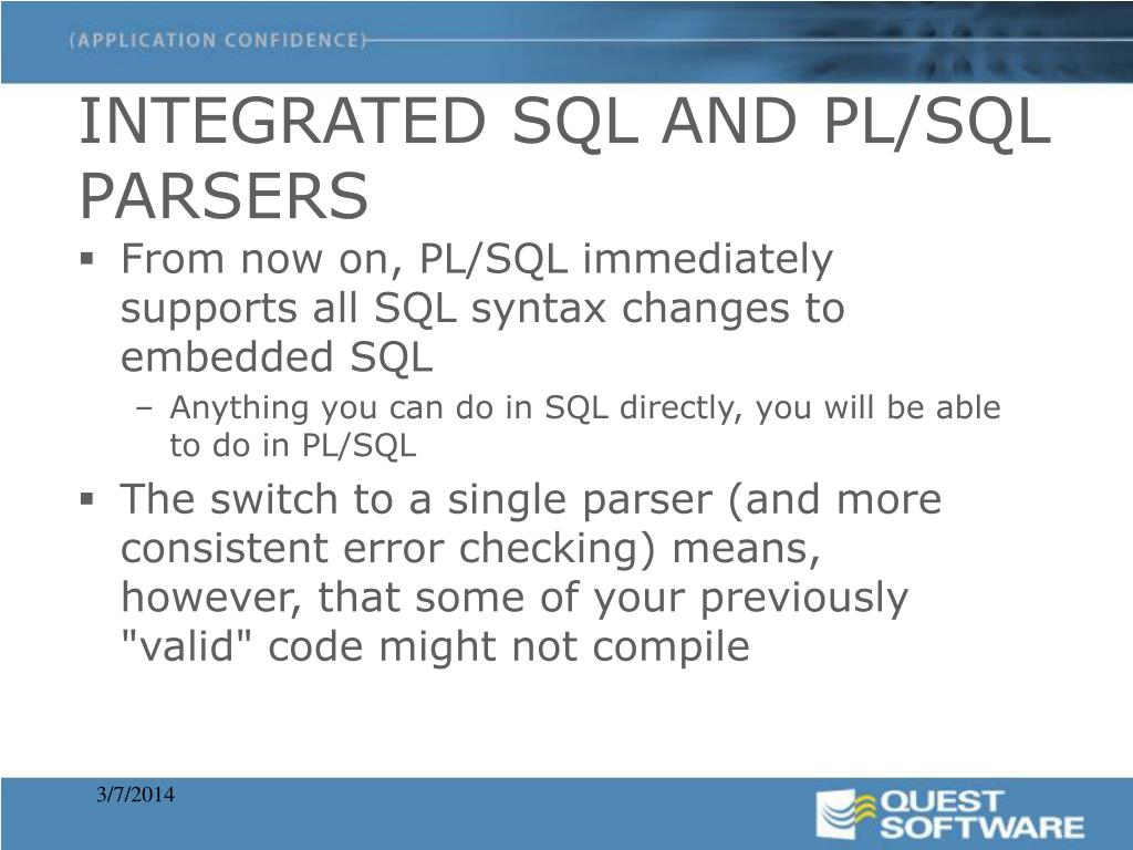 INTEGRATED SQL AND PL/SQL PARSERS
