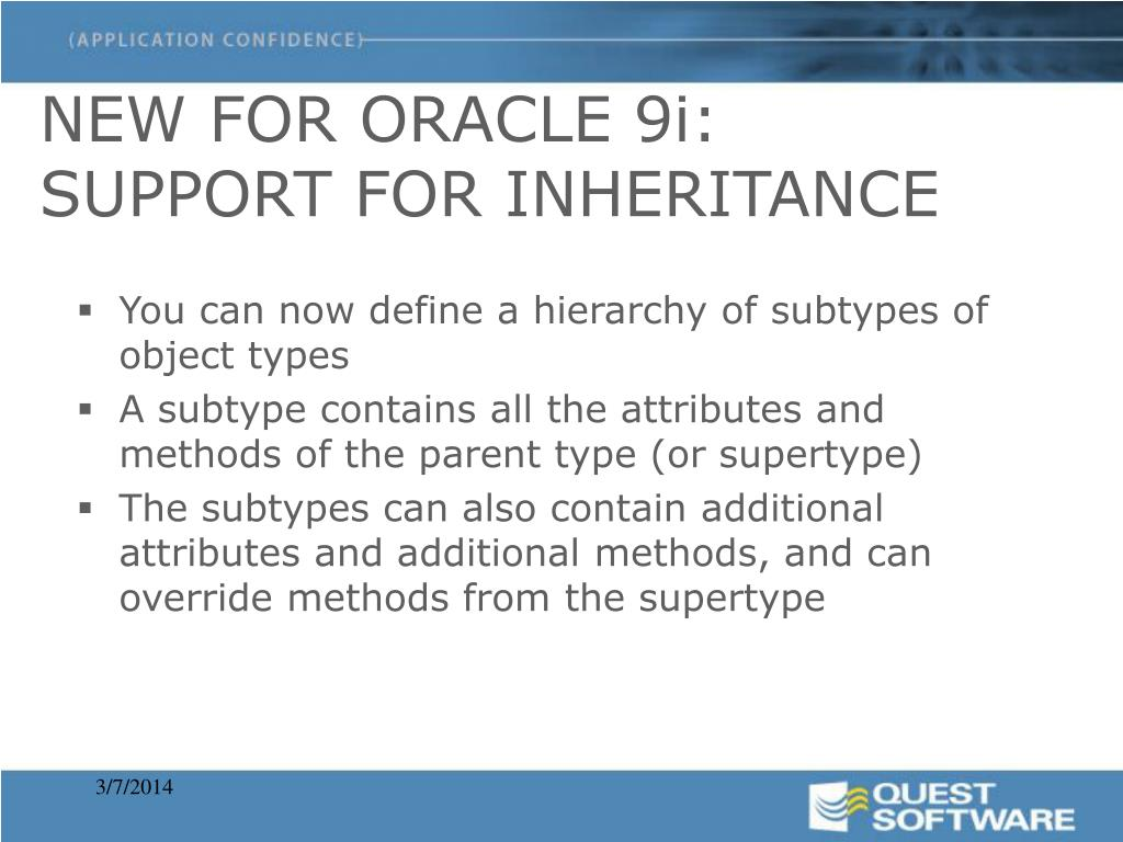 NEW FOR ORACLE 9i: