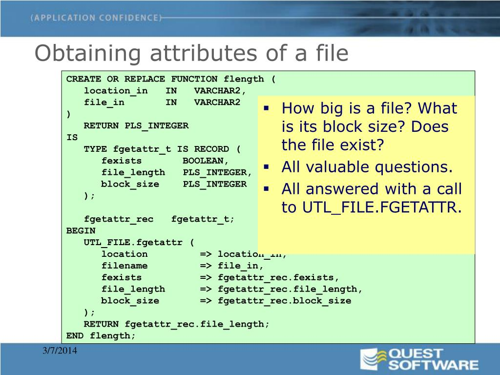 Obtaining attributes of a file