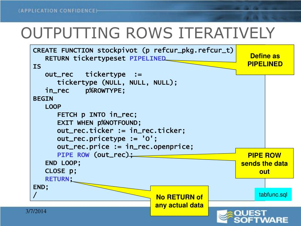 OUTPUTTING ROWS ITERATIVELY