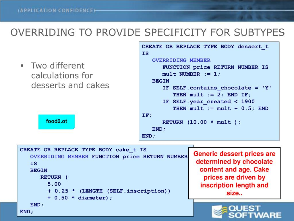 OVERRIDING TO PROVIDE SPECIFICITY FOR SUBTYPES
