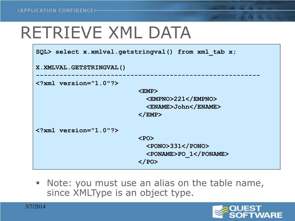 RETRIEVE XML DATA