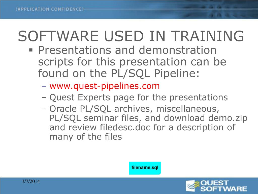 SOFTWARE USED IN TRAINING