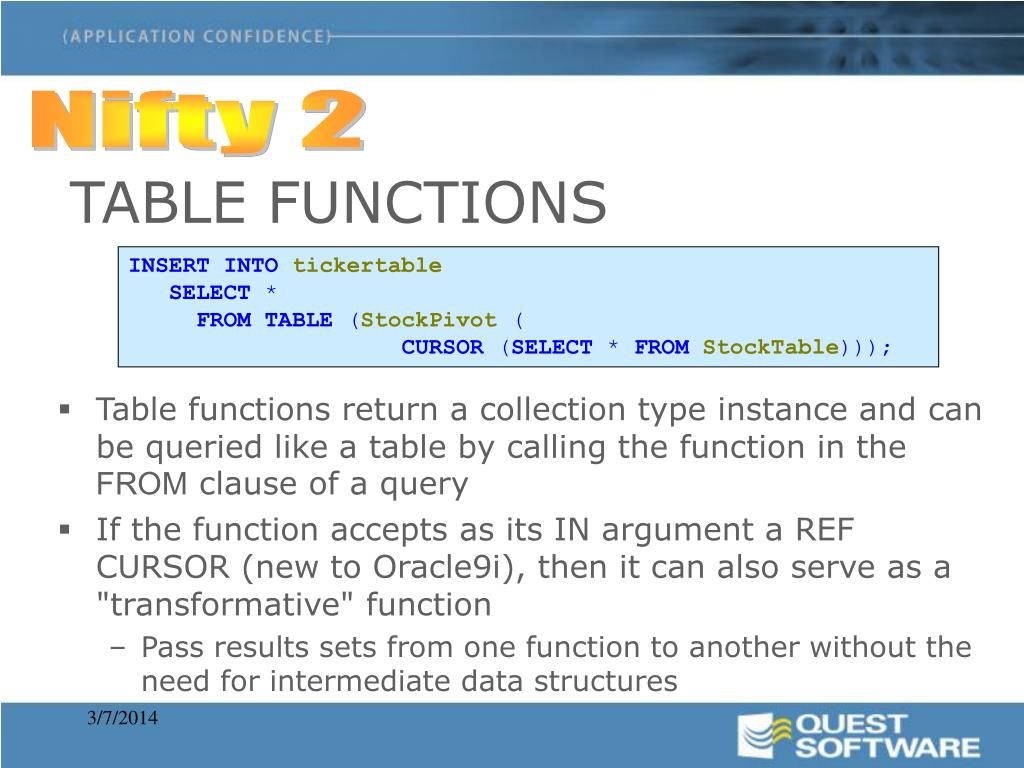 Table functions return a collection type instance and can be queried like a table by calling the function in the
