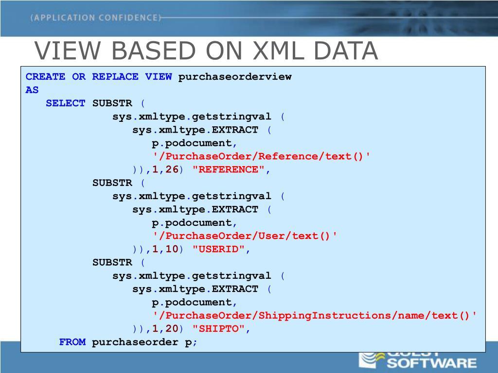 VIEW BASED ON XML DATA