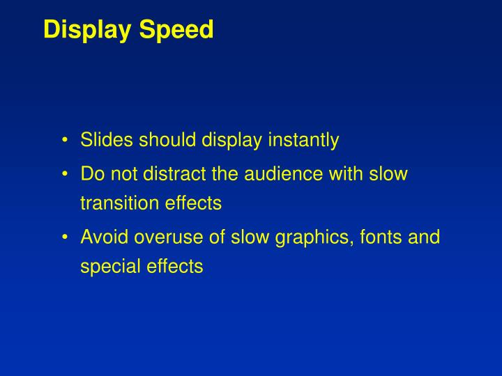 Display Speed
