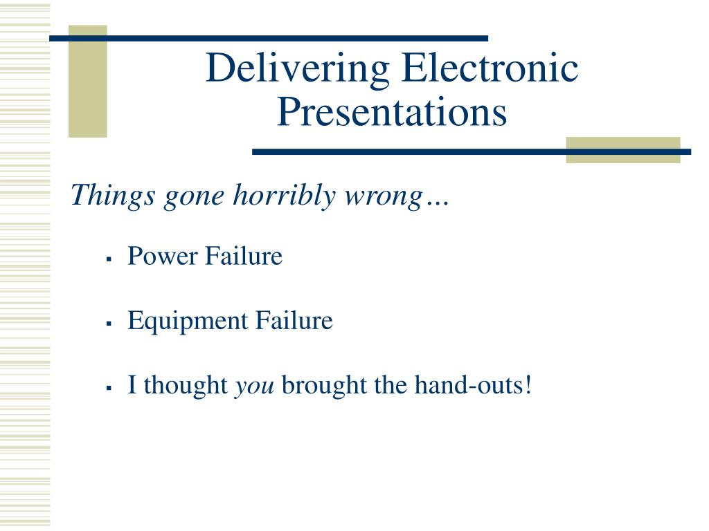 Delivering Electronic Presentations