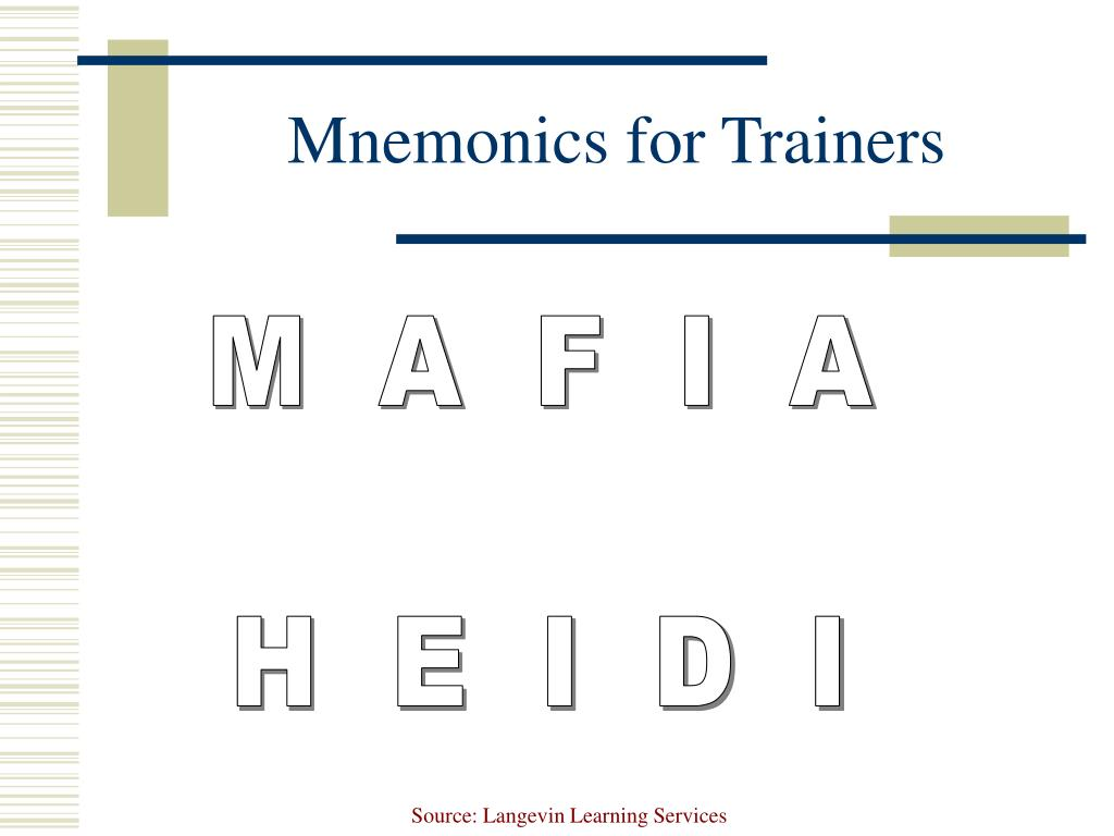 Mnemonics for Trainers