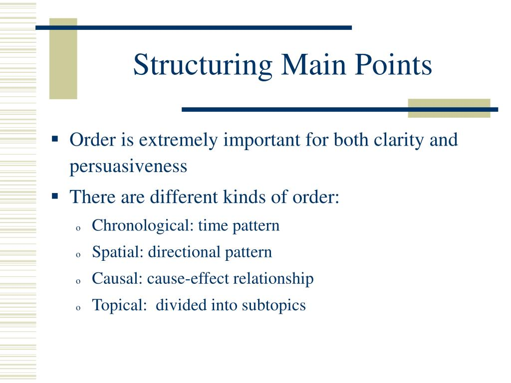 Structuring Main Points