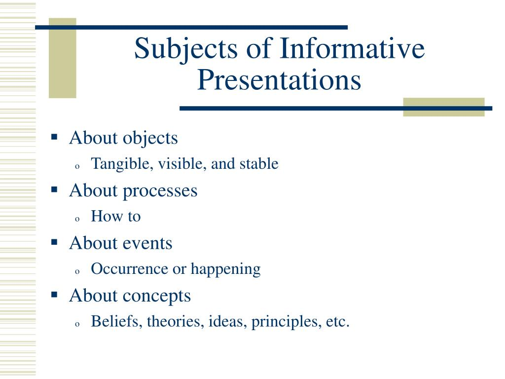Subjects of Informative Presentations