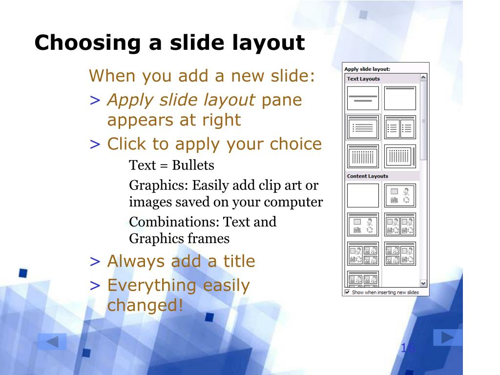 Choosing a slide layout
