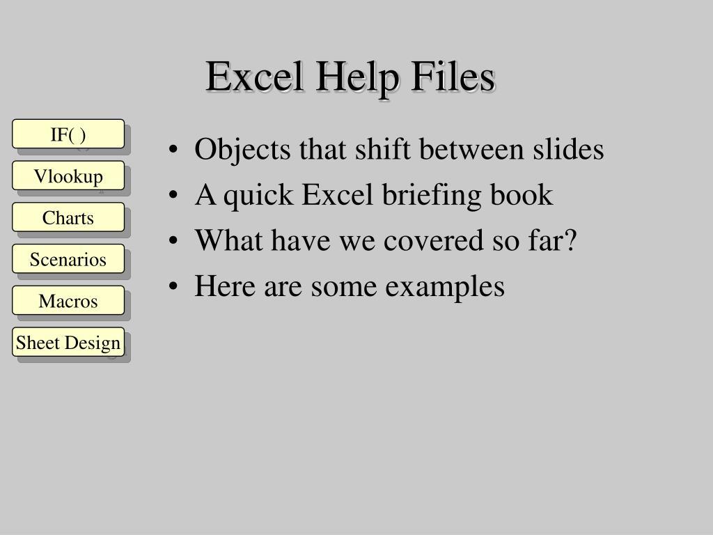 Excel Help Files