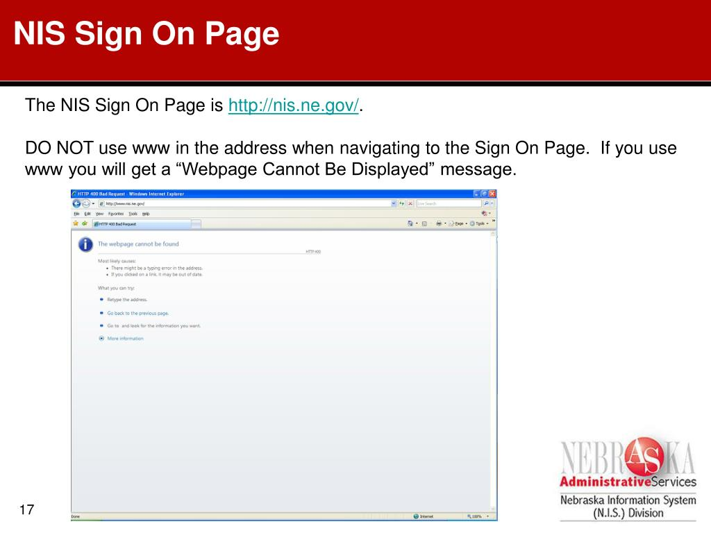 NIS Sign On Page