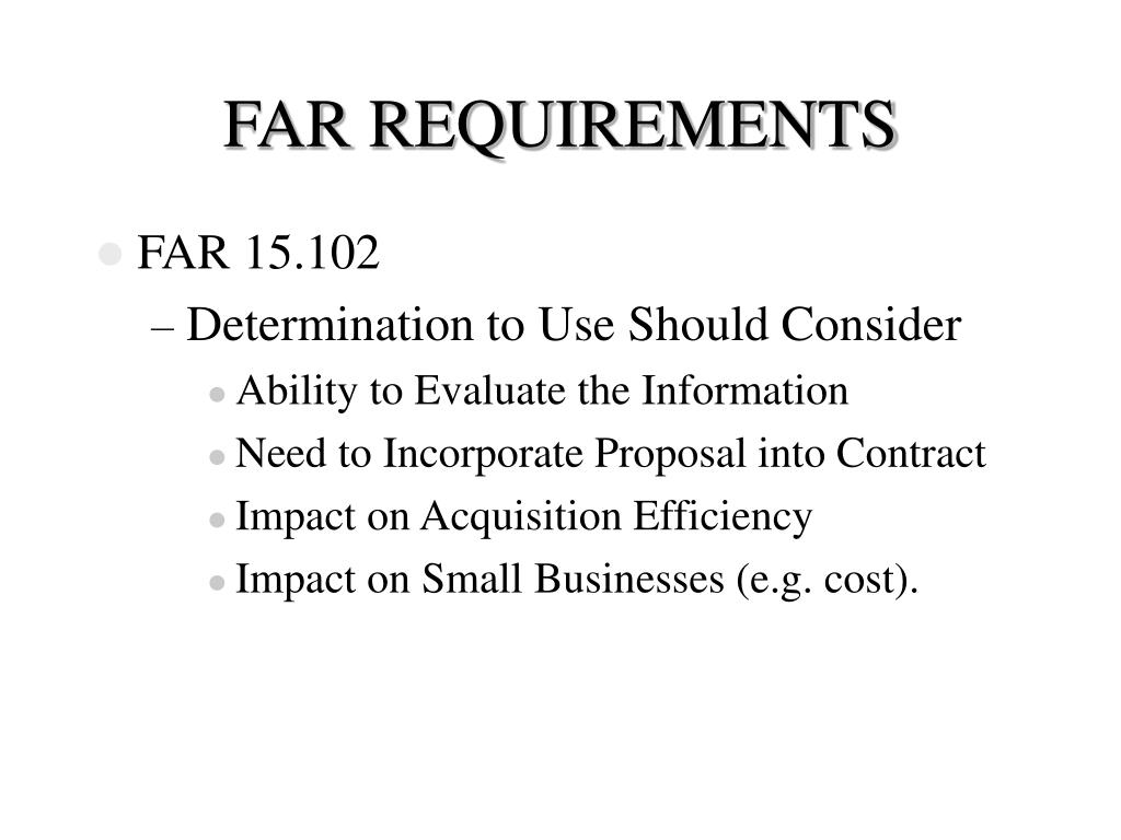 FAR REQUIREMENTS