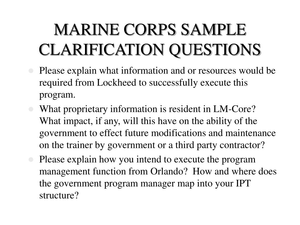 MARINE CORPS SAMPLE CLARIFICATION QUESTIONS