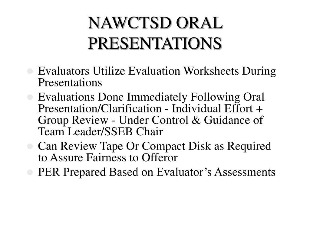 NAWCTSD ORAL PRESENTATIONS