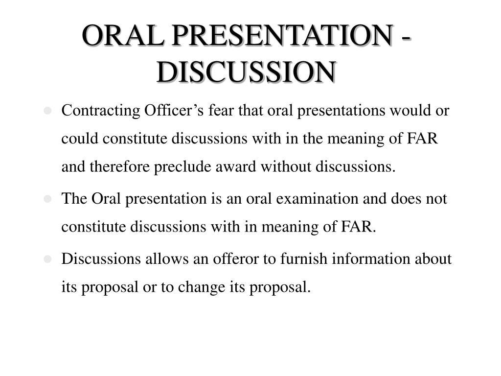 ORAL PRESENTATION - DISCUSSION