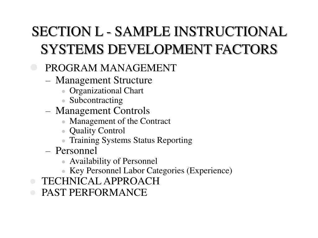 SECTION L - SAMPLE INSTRUCTIONAL SYSTEMS DEVELOPMENT FACTORS