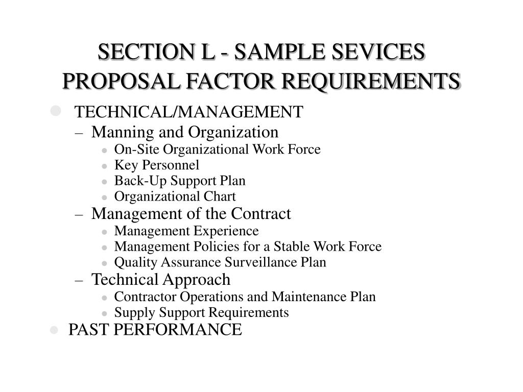 SECTION L - SAMPLE SEVICES PROPOSAL FACTOR REQUIREMENTS