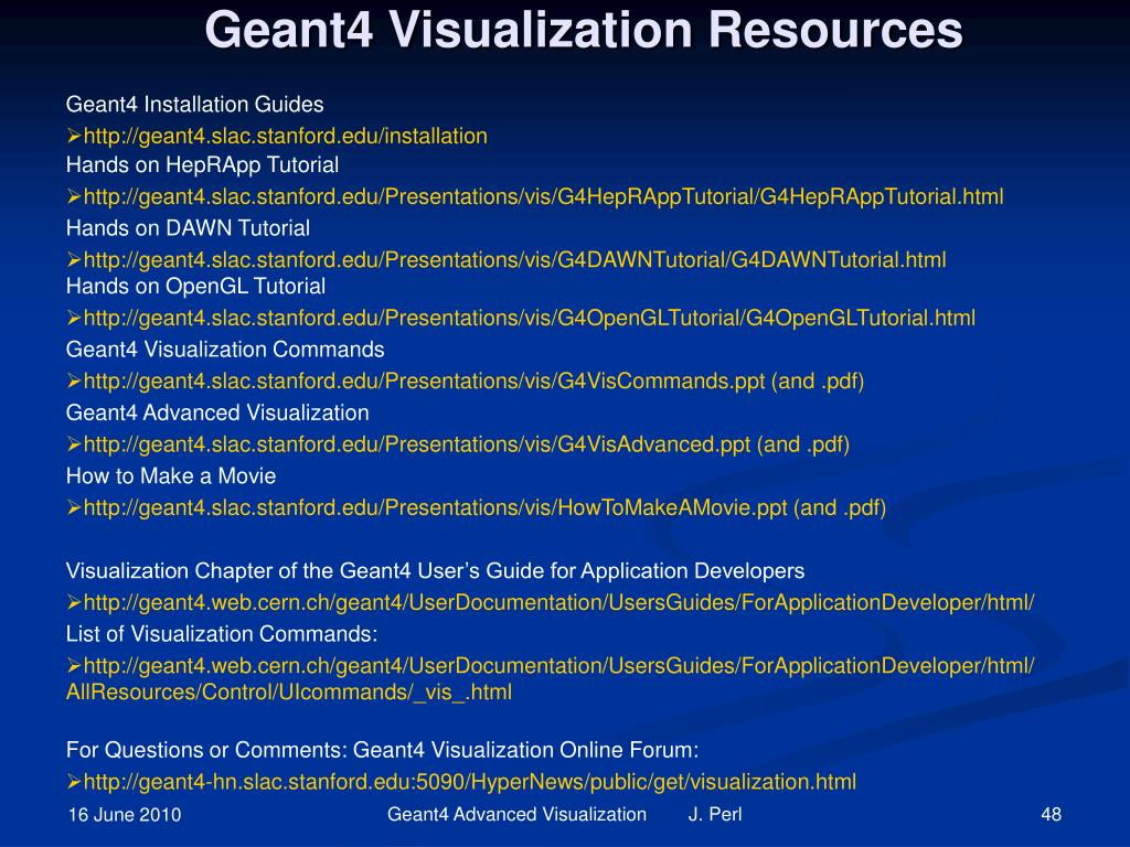 Geant4 Visualization Resources