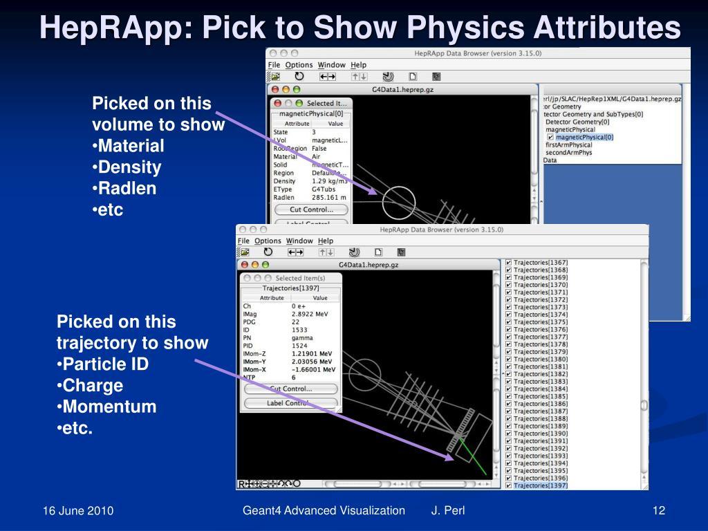 HepRApp: Pick to Show Physics Attributes