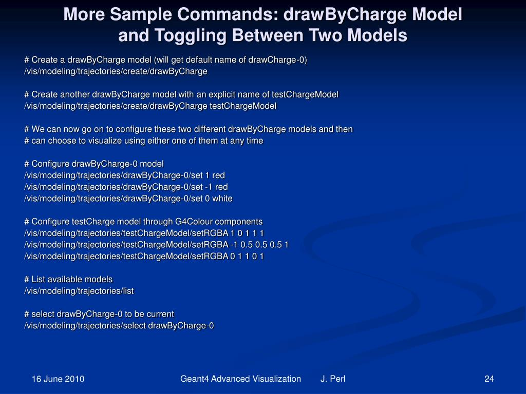 More Sample Commands: drawByCharge Model