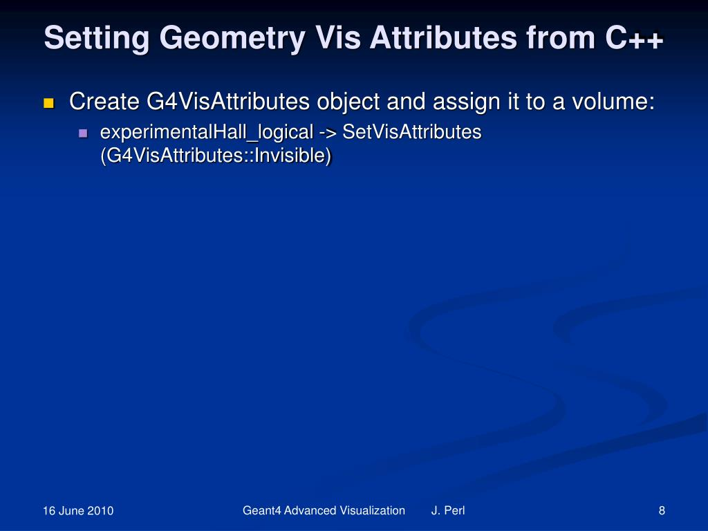 Setting Geometry Vis Attributes from C++
