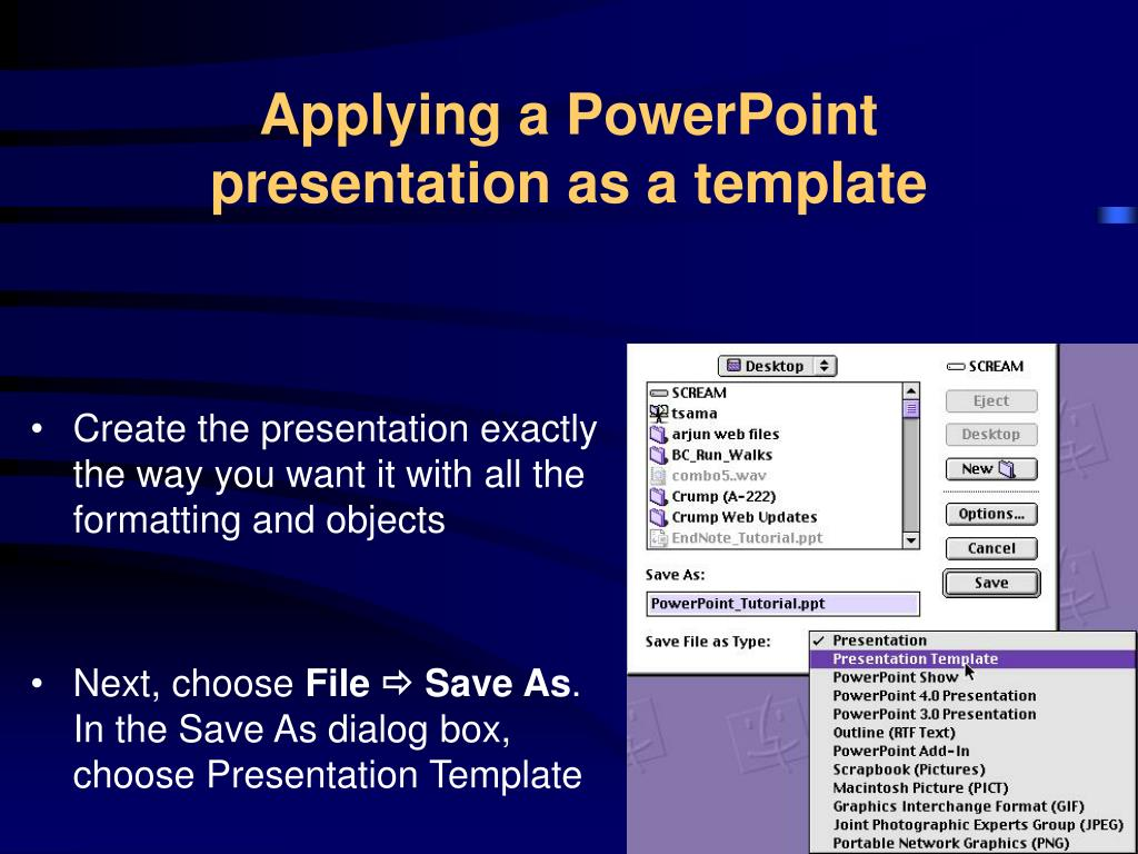 Applying a PowerPoint presentation as a template