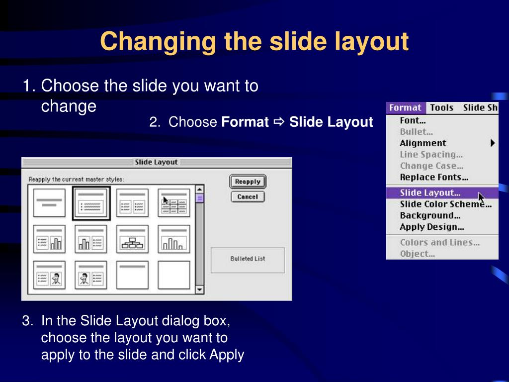 Changing the slide layout