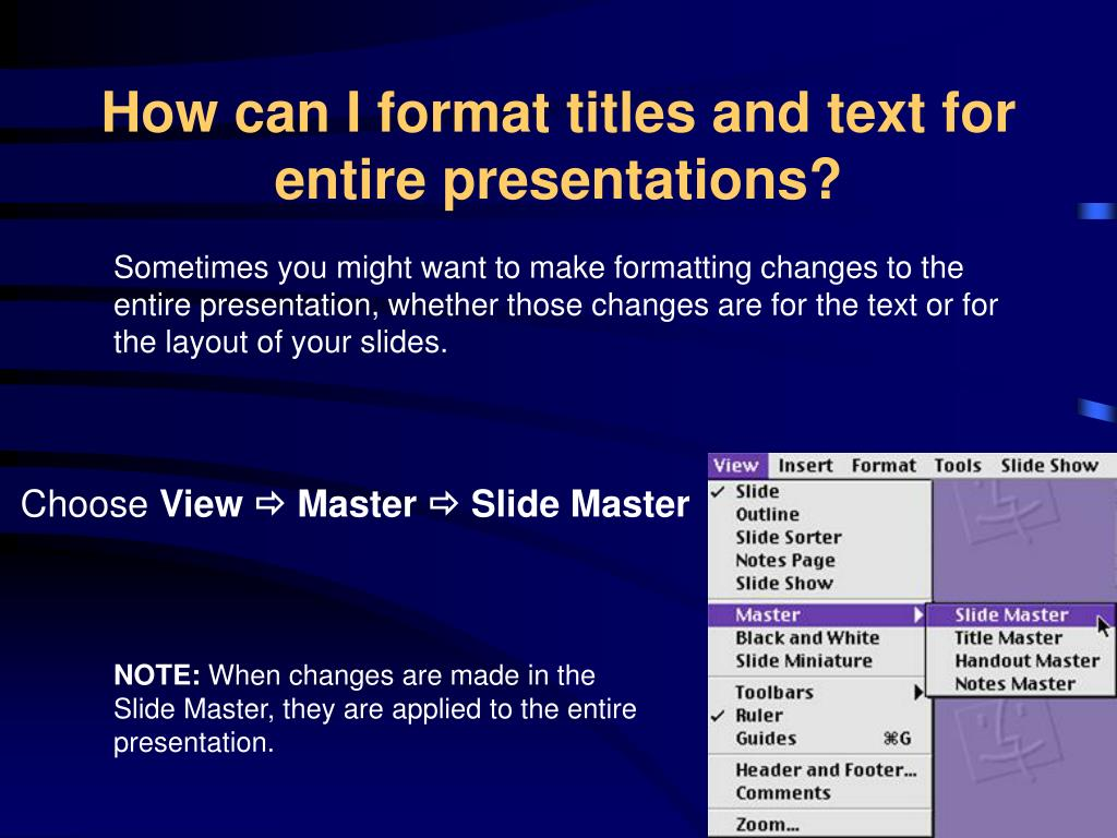 How can I format titles and text for entire presentations?