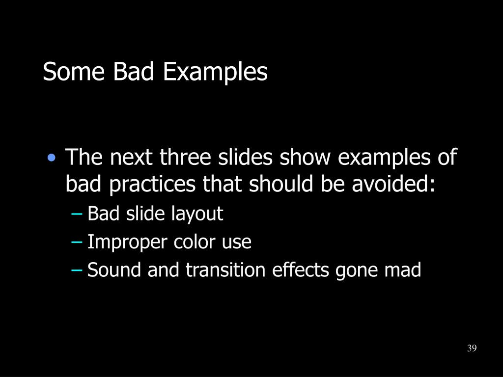 Some Bad Examples
