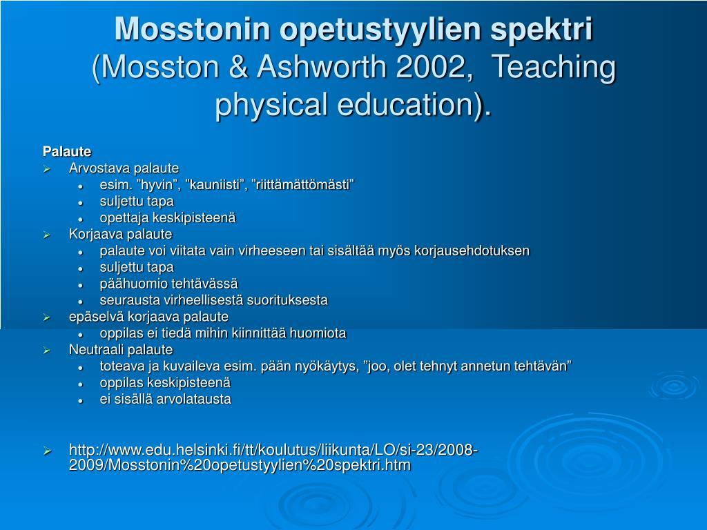 Mosstonin opetustyylien spektri