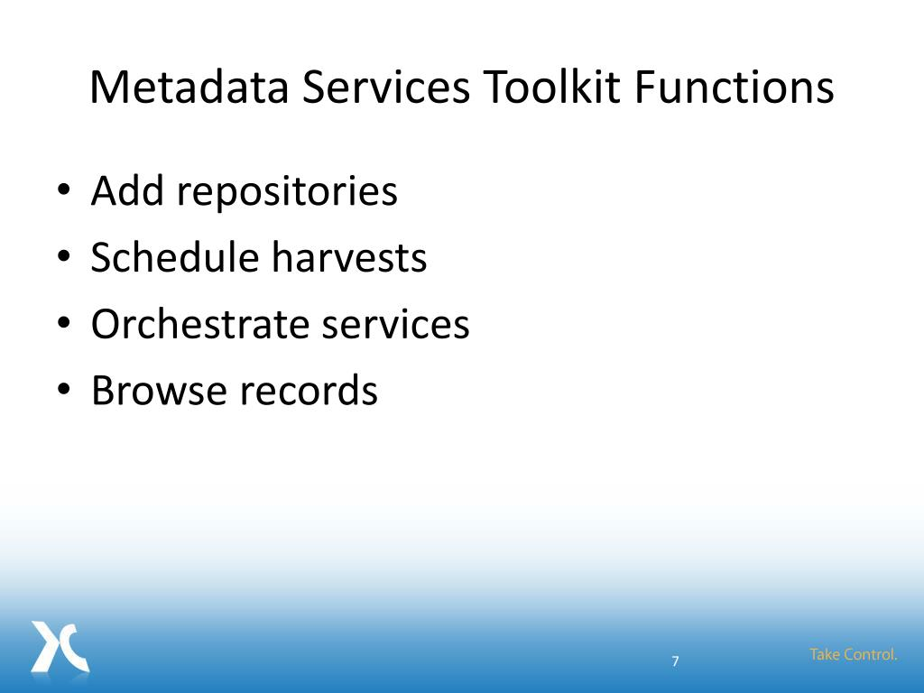 Metadata Services Toolkit Functions
