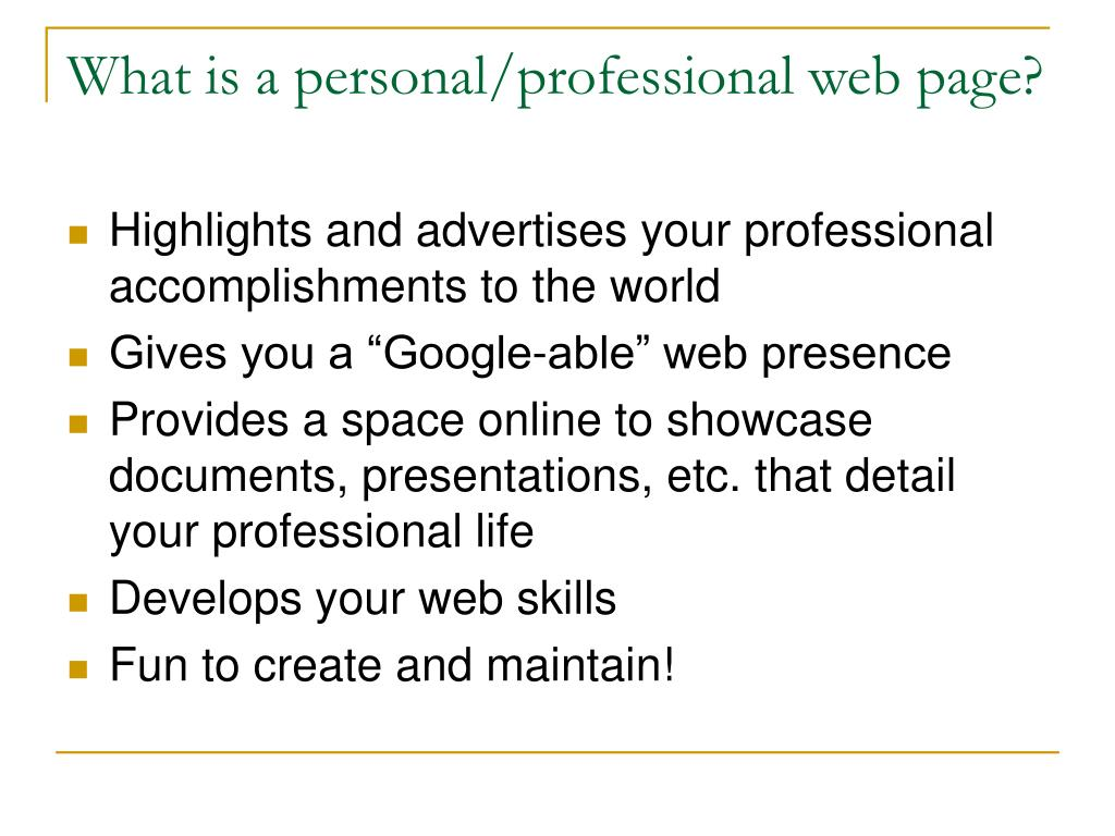 What is a personal/professional web page?