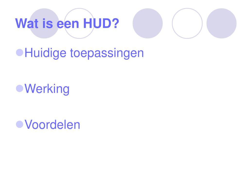 Wat is een HUD?