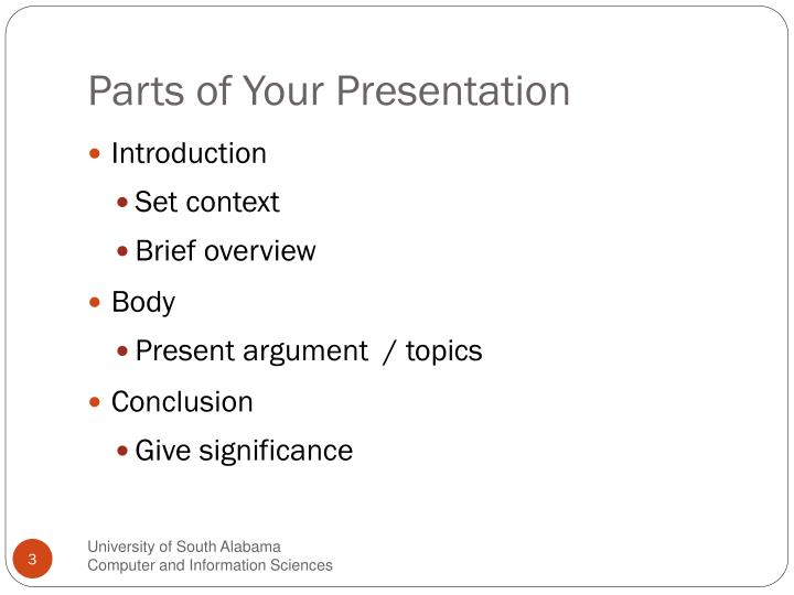 Parts of your presentation