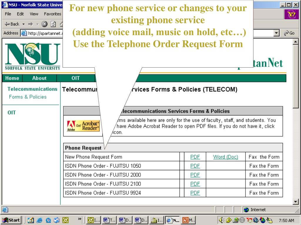 For new phone service or changes to your existing phone service