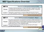 mef specifications overview10
