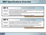 mef specifications overview13