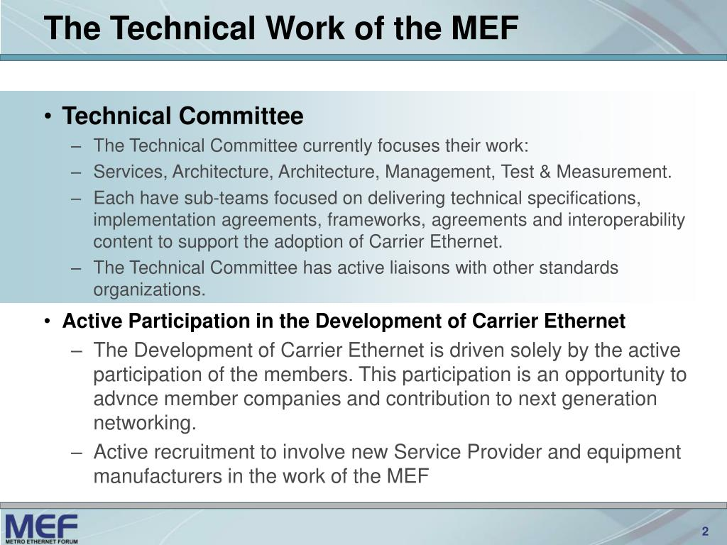 The Technical Work of the MEF