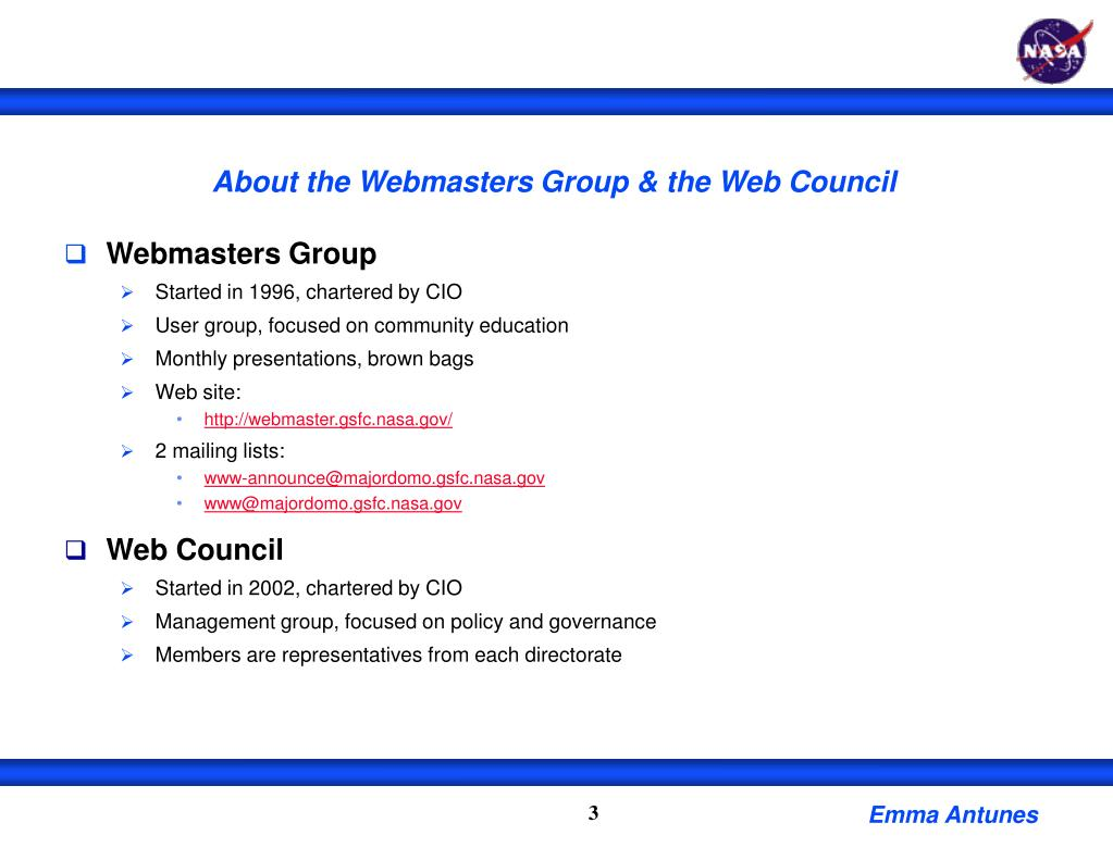 About the Webmasters Group & the Web Council