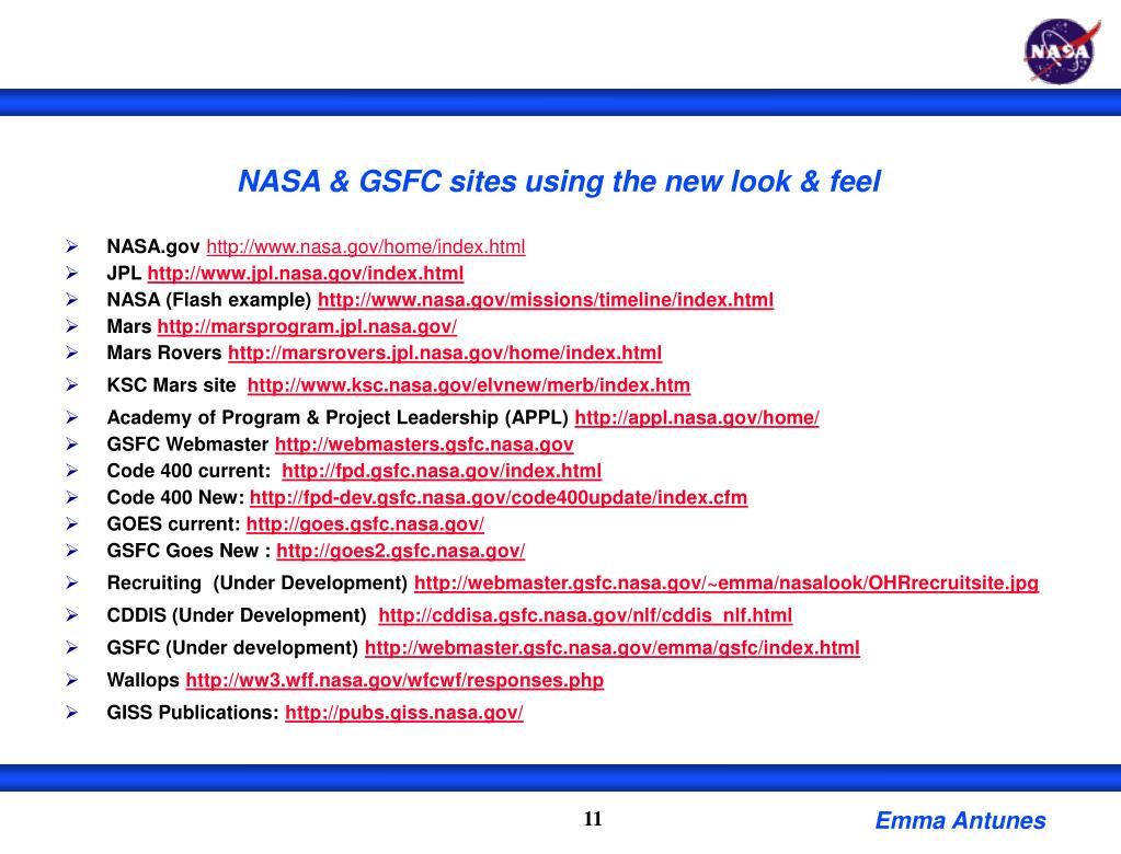 NASA & GSFC sites using the new look & feel
