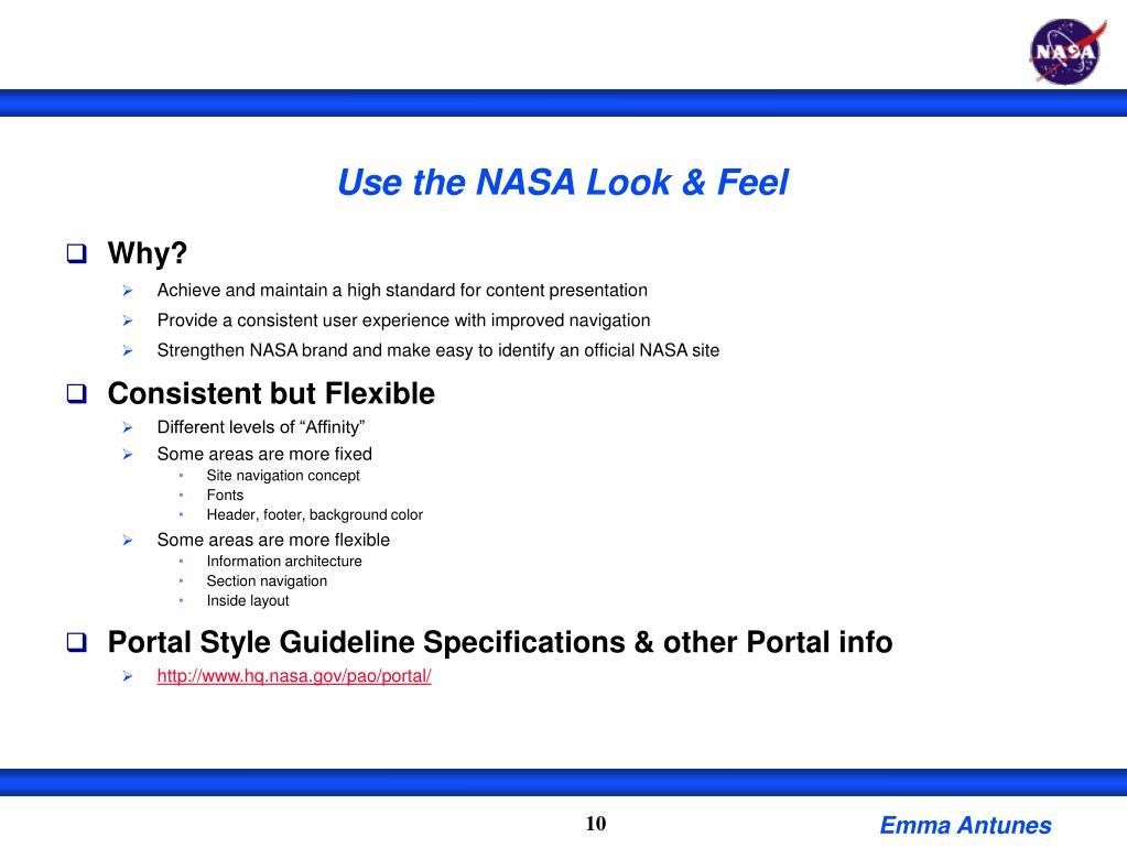 Use the NASA Look & Feel