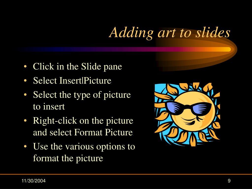 Adding art to slides